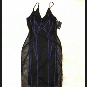 Blue and black netted Bodycon dress